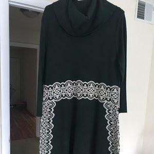 Hunter green cowl neck sweater dress